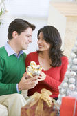 Husband Surprising Wife With Christmas Present — Stok fotoğraf