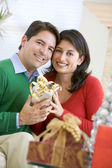 Husband Surprising Wife With Christmas Present — Stockfoto