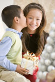 Brother Kissing His Sister On The Cheek,And Holding A Christmas — Stock Photo