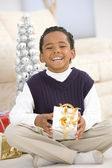 Portrait Of Boy With Christmas Present — Stock Photo