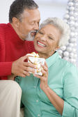 Senior Couple Exchanging A Christmas Gift — Stock Photo