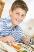 Boy At Christmas Dinner — Foto Stock