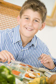 Boy At Christmas Dinner — Stockfoto
