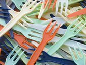 Pile Of Coloured Plastic Take Away Forks — Stock Photo