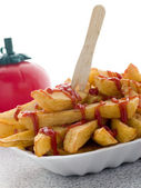 Portion Of Chips In A Polystyrene Tray With Tomato Ketchup — Stock Photo