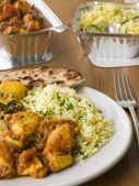 Deska indické take away kuřecí bhoona, sag aloo, pilaf rýže — Stock fotografie