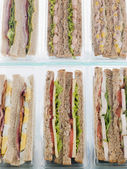 Selection Of Take Away Sandwiches In Plastic Triangles — Stock Photo