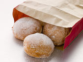 Bag Of Raspberry Jam Doughnuts — Stock Photo