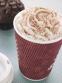 Cup Of Hot Chocolate With A Double Chocolate Muffin — Stock Photo