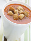 Cup Of Tomato Soup With Croutons In A Polystyrene Cup — Stock Photo