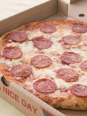 Pepperoni Pizza In A Take Away Box — Stock Photo