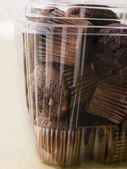 Double Chocolate Chip Muffins In A Plastic Box — Stock Photo