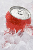 Red Can Of Fizzy Soft Drink Set In Ice — Stock Photo