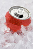 Red Can Of Fizzy Soft Drink Set In Ice With The Ring Pulled — Stock Photo