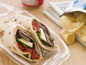 Steak, Cheese, Red Pepper And Barbeque Sauce Tortilla Wrap With — Stock Photo