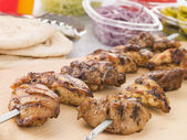 Marinated Chicken Kebab On A Skewer — Stock Photo