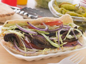 Marinated Lamb Kebab In A Pitta Bread — Stock Photo