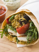Spiced Cous Cous And Grilled Halloumi Tortilla Wrap — Stock Photo