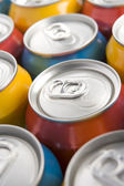 Close Up Of Multi Colored Soda Cans — Stock Photo