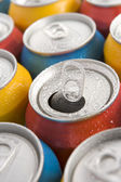 Close Up Of Multi Colored Soda Cans With One Open — Stock Photo