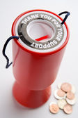 Collection Container And Coins — Stock Photo