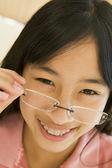 Girl Looking Through New Glasses — Stock Photo