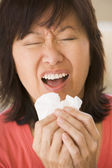 Woman Sneezing — Stock Photo