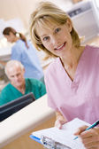 Nurses In The Reception Area Of A Hospital — Stock Photo