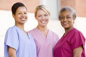 Nurses Standing Outside A Hospital — Stock Photo