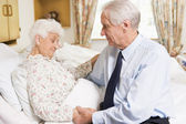 Senior Man Visiting His Wife In Hospital — Stock Photo