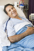 Middle Aged Man Lying In Hospital Bed — Stock Photo