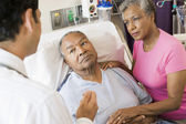 Senior Couple Talking To Doctor,Looking Worried — Stock Photo