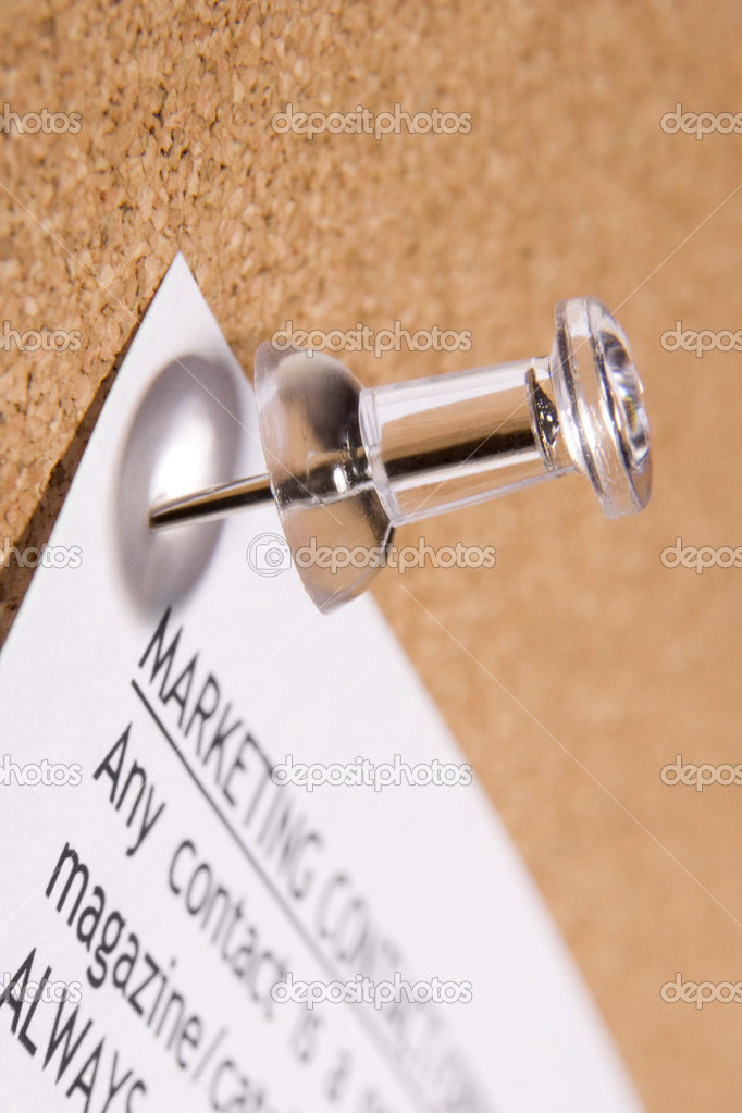 Close Up Of Thumbtack In Bulletin Board — Stock Photo #4778064
