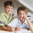 Two Young Boys Doing Their Homework Together - Stockfoto
