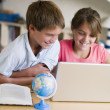 Stock Photo: Kids with laptop