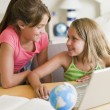 Kids with laptop — Stock Photo