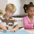Two Young Friends Drawing Pictures — Stock Photo