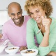 Husband And Wife Eating Breakfast Together — Stock Photo