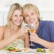Young Couple Enjoying meal,mealtime With A Glass Of Wine — Stock Photo