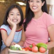 Mother And Daughter Preparing meal,mealtime Together — Stock Photo #4780996