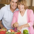Husband And Wife Preparing meal,mealtime Together — Foto Stock