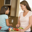Mother And Daughter Preparing meal,mealtime Together — Stock Photo #4781028