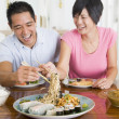 Young Couple Enjoying Chinese Food — Stok fotoğraf