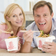 Couple Eating Takeaway meal,mealtime Together — Stock Photo