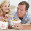 Stock Photo: Couple Eating Takeaway meal,mealtime Together