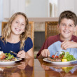 Stock Photo: Brother And Sister Eating meal,mealtime Together