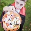 Young boy outdoors wearing vampire costume on Halloween holding - Stock Photo