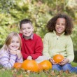 Three young friends sitting on grass with pumpkins smiling — Stock Photo