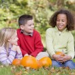 Three young friends sitting on grass with pumpkins smiling — Stock Photo #4781512