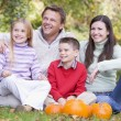 Family sitting on grass with pumpkins smiling — Stock Photo
